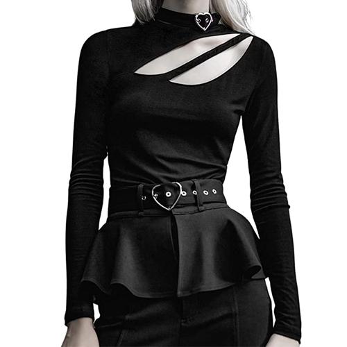 PUNKRAVE Women's One Shoulder T-Shirt Top Asymmetric Cutout Neck Fashion Slim Long Sleeve Tee 25% OFF