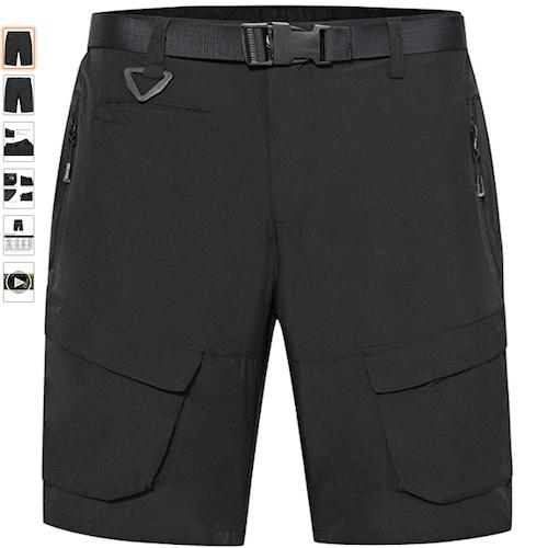 Heihuohua Men's Lightweight Hiking Shorts Quick Dry Cycling Camping Travel Shorts Free Belt