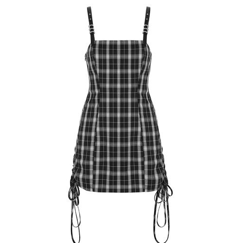 35% OFF Punk Rave Women's Trendy Plaid Dress Adjustable Straps Drawstring Hem Suspender Dress