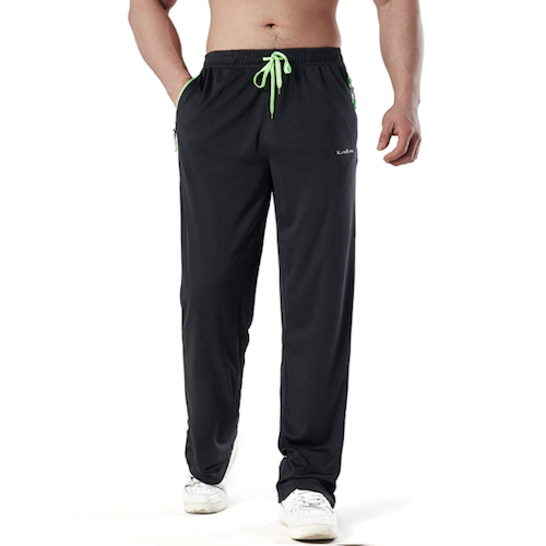 KouKou Men's Sweatpants with Zipper Pockets Open Bottom Casual Athletic Pants for Jogging, Workout, Gym, Running, Training