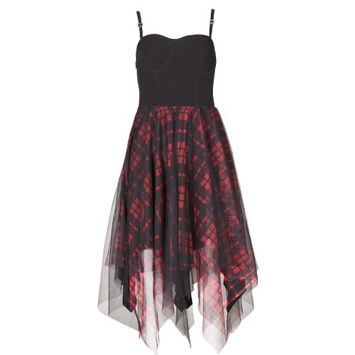 PUNK RAVE DAILY Women's Midi Goth Plaid Dress