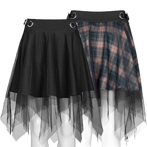 Women's High Waist Plaid Skirt Layered Princess Mesh Tulle Mini Skirt