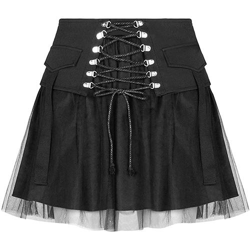 PUNK RAVE DAILY Women's High Waist Skirt Nifty Punk A Line Tulle Skirt