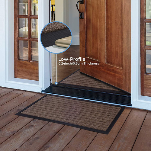 45.00% OFF Lifewit 2 Pack Indoor Mat Heavy Duty Non Slip Rubber Backing, 29.5×16.5 in, Brown