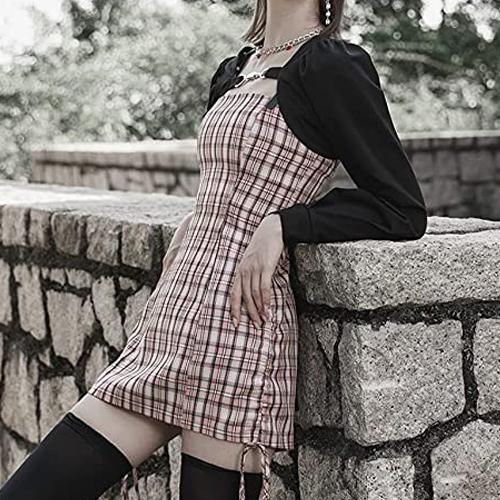 35% OFF Punk Rave Daily Pink Plaid Suspender dress