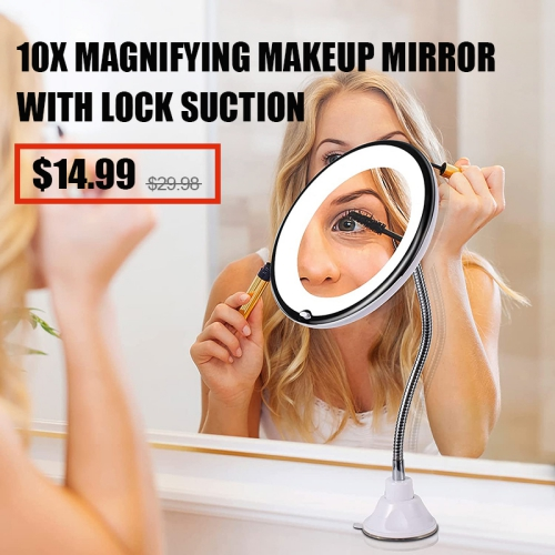 10X Magnifying Makeup Mirror with Lock Suction