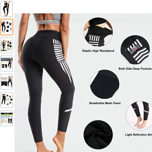40% OFF TrainingGirl High Waist Sauna Sweat Pants Slimming Neoprene Weight Loss Workout Capri Leggings with Zipper Pocket for Women