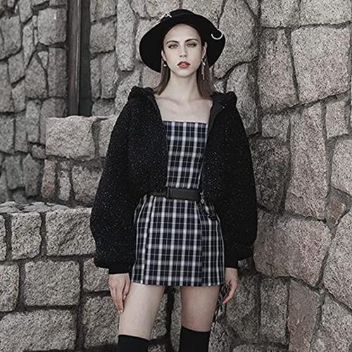 PUNK RAVE DAILY Women's Black Plaid Dress with Adjustable Straps