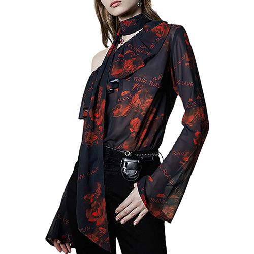 PUNK RAVE DAILY Red Rose Elegant Chiffon Blouse