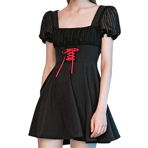 PUNK RAVE DAILY Womens Bubble Ruffle Sleeve Square Neckline Dress Mini A line Dress