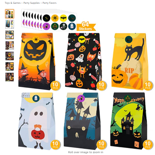 50% OFF Halloween Treats Bags Party Favors 6 Design 60 PCS Halloween Treat Bags for Kids Trick/Treat Candy Bags+64 Pcs Halloween Stickers Mini Paper Gift Bags for Halloween Goodie Bags Party Supplies