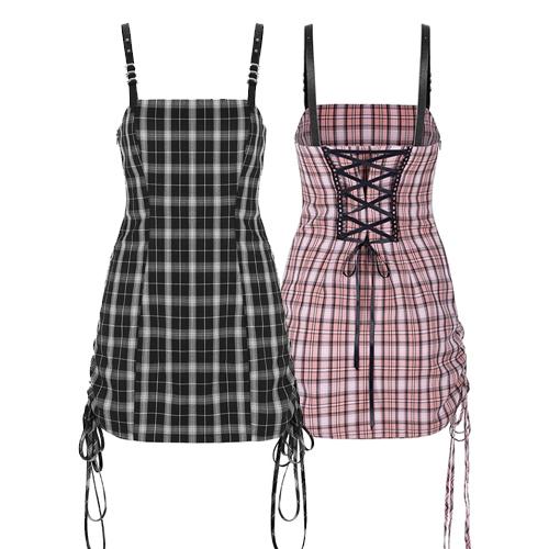 60% OFF PUNK RAVE DAILY Women's Trendy Plaid Dress Adjustable Straps Drawstring Hem Suspender Bodycon Mini Overall Dress