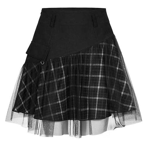 PUNK RAVE DAILY Women's High Waist Skirt Plaid A Line Skirt with Tulle