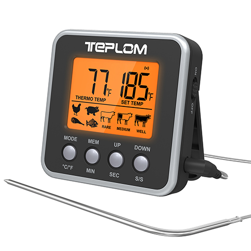 Teplom Digital Meat Food Thermometer,with LCD Backlit Display,Stainless Steel Probe,Magnet and Timing Function,Best for Cooking and BBQ,Milk,Water,Jam(Black)