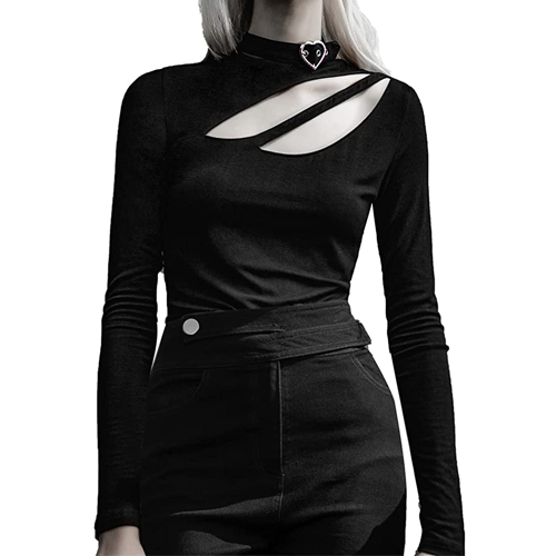 Women Fall Tops Sexy Short Long Sleeve Tee Solid Slim Fit Shirts with Chocker Neck Cutout One Shoulder for Basic, Casual