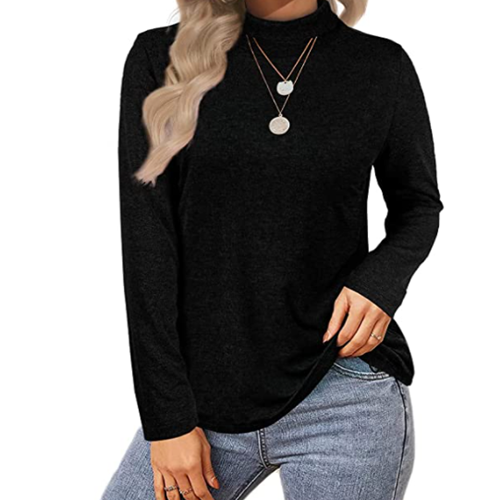 Long Sleeve Shirts for Women Casual Mock Neck Tops