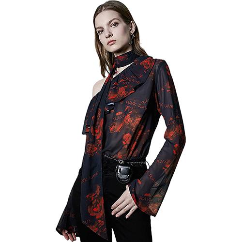 PUNK RAVE DAILY Womens Flower Print Self One Shoulder Elegant Chiffon Blouse Bell Sleeve Top