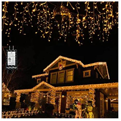 Nielfoi Halloween Christmas LED Icicle Lights,400 LEDs,32ft,1216LED 98ft,8 Modes, LED String Lights 50% off