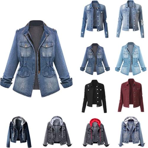 Women Denim Jacket Plus Size Long Sleeve Button Down Coat Distressed Jean Jackets Casual Fall Outw 50% OFF