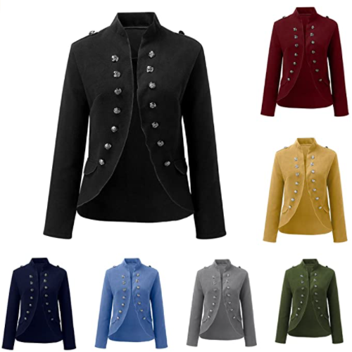 QINGWEI Women's Open Front Long Sleeves Business Blazer Buttons Gothic Steampunk Casual Jacket 60% OFF