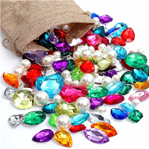 Gems Fake Treasure Jewels with Pearls in Sack bag Kids Pirate party Favors 40% off