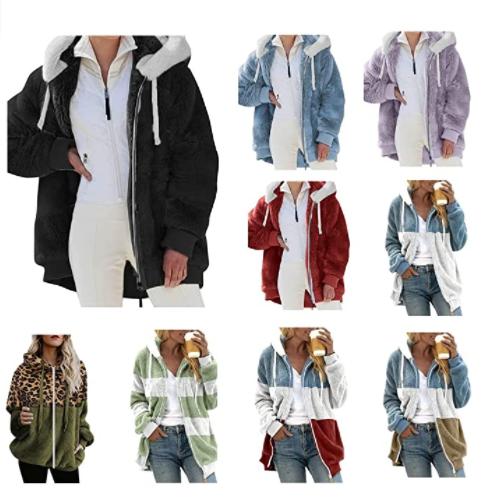 Women's Fashion Long Sleeve Lapel Zip Up Faux Shearling Shaggy Oversized Coat 50% OFF