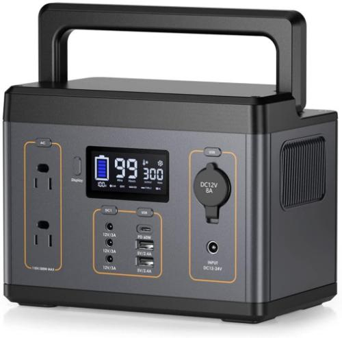 Portable Power Station , 300Wh(Peak 600Wh) PD 60W(MAX) USB-C Fast Charging Solar Generators, 280W/110V Pure Sine Wave AC Outlet Backup Power Supply for Outdoors Camping Travel Hunting Emergency