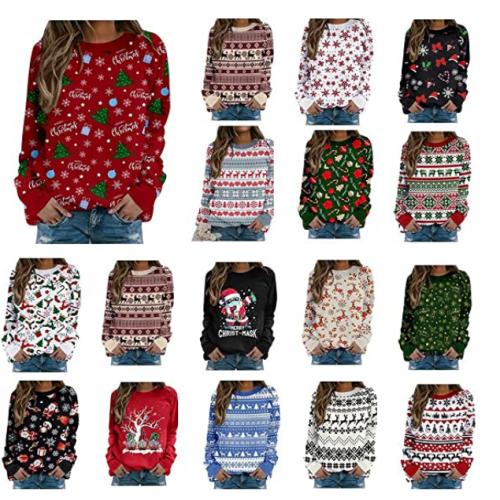 Christmas Deer Sweatshirt Women Funny Shirt Snowflake Graphic Long Sleeve 50% off