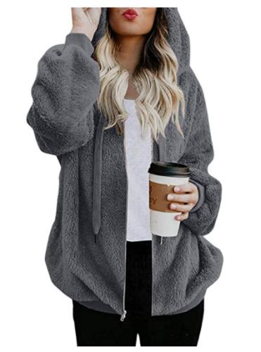 Fleece Cardigans for Women Plus Size Trendy Winter Warm Outerwear Fashion 2021 Full Zipper Hooded Coats with Pockets 50% off