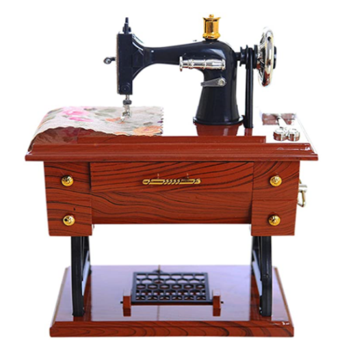CWGMG Vintage Music Box - Mini Sewing Machine Style Mechanical Birthday Gift Table Decor 50% off