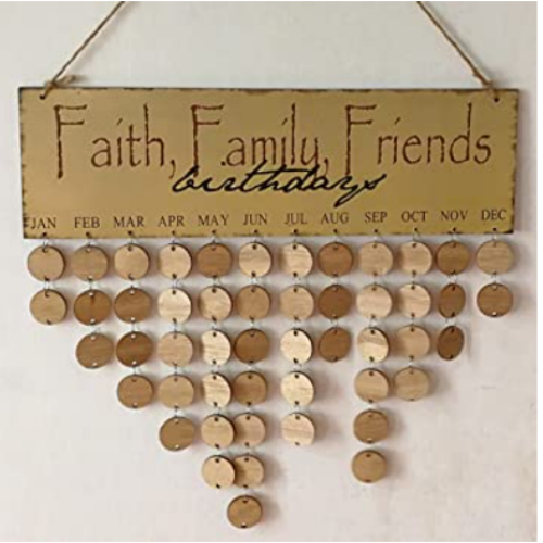 Wooden Birthday Reminder Calendar of Wall Hanging, Wood Reminder Board for Home with 50 Wood Tags, DIY Gift for Mom, Dad, Kids and Friends 80% OFF