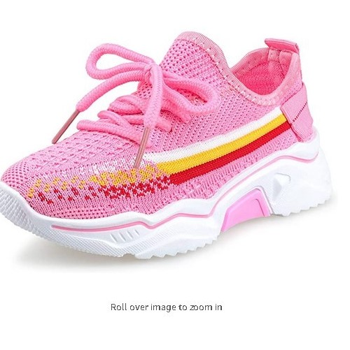 Tuboom Kids Sneakers for Girls Fitness & Cross-Training Running Athletic Sports Adjustable Breathable Pink Black Shoes