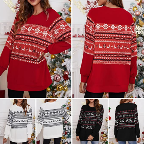 Women Knit Christmas Sweatshirt Reindeer Xmas Hoodies Cute Pullover Top