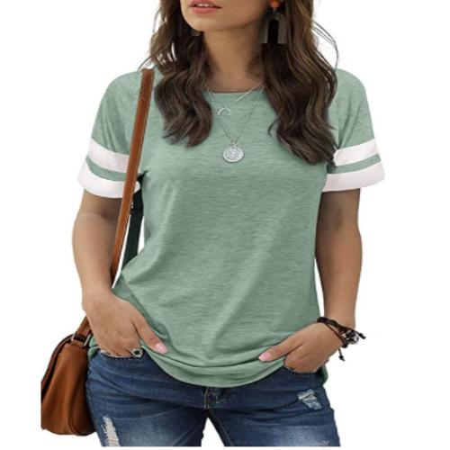 MIDOVAN Womens Summer Tops and Blouses Casual Crewneck Color Block Short Sleeve Shirts Basic Tee Loose T Shirts 50% off