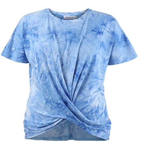 Women's Casual Tie Knot Short Sleeve T-Shirt Tie-Dye Tops Shirts 50% off