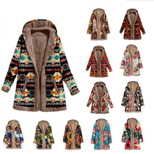 Womens Winter Warm Jackets Vintage Floral Print Fleece Lined Plus Size Hooded Overcoat 50% off