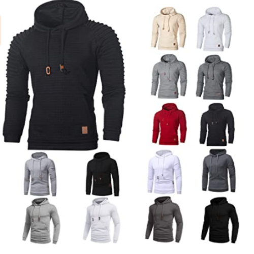 Hoodies for Men Fashion Athletic Fall Long Sleeve Drawstring Sports Tops Running Workout Shirts Trendy Plaid Outwear 50% off