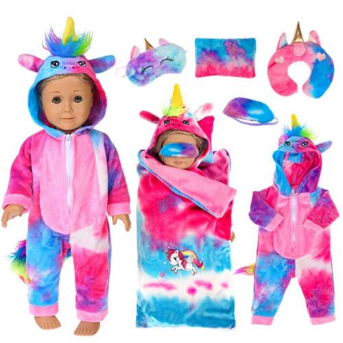 ebuddy 6 Pcs Colorful Tie-Dyed Unicorn Sleepwear Sleeping Bag Set Doll Accessories for 18 inch Our Generation Doll,American Girl Doll and 16-18 inch Baby Doll 50% off
