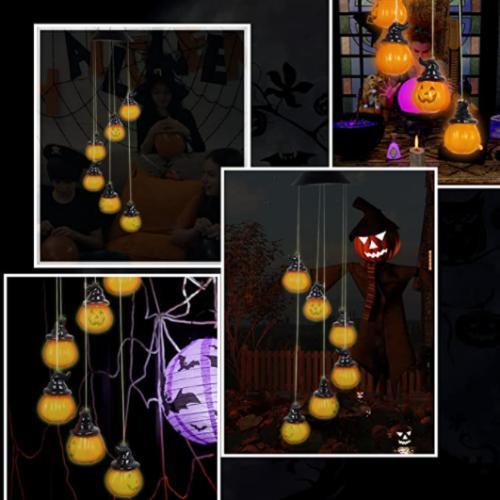 Halloween Light Wind Chimes Pumpkin Skeleton Skull Wind Chimes Solar Wind Chimes LED Light Holiday Wind Chime 60% off