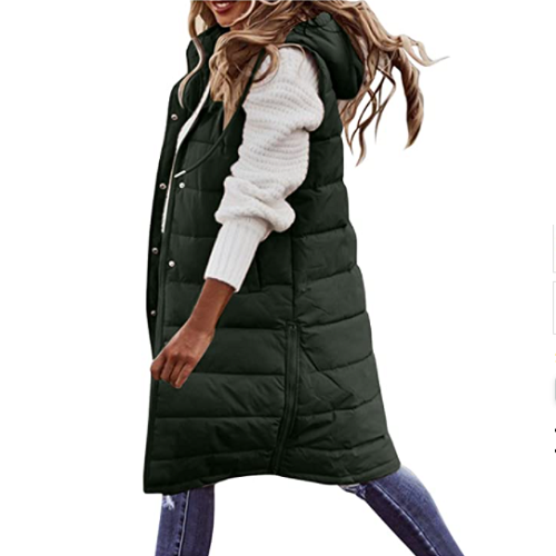 Winter Vest for Women Long Warm Sleeveless Down Jackets Quilted Jacket Coats Thick Slim Zipper Gilet with Pockets 50% off