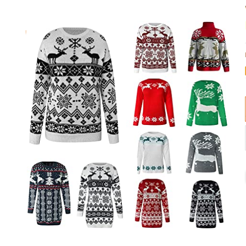 Women Christmas Sweaters Elk Snowflake Print Graphic Knit Pullover Long Sleeve Crew Neck Jumper Tops 70% off