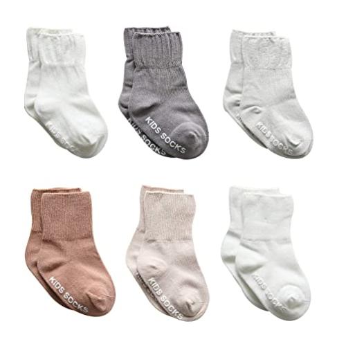 Baby Boy Socks 6 Pack- Non Slip Grip Ankle Socks Anti Slip Crew Socks For Baby Toddlers Boys 50% off