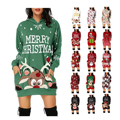 ICQOVD Christmas Hoodie for Women Funny Reindeer Santa Graphic Casual Crewneck 50% off
