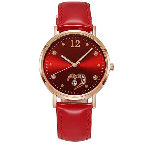 Watches for Women Leather Strap Wrist Watch Fashion Bracelet Watch with Love Heart Rhinestone Design 70% off