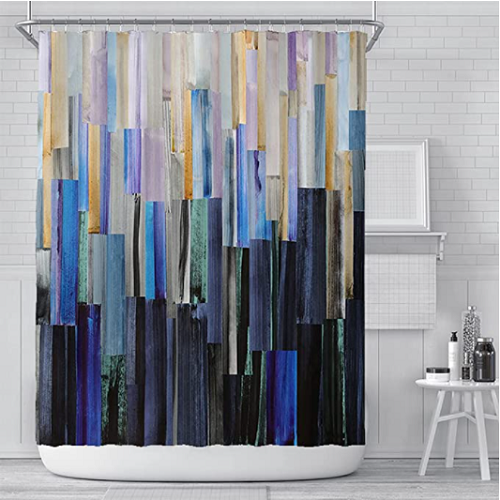 Geometric Shower Curtain with 12 Hooks 50% off