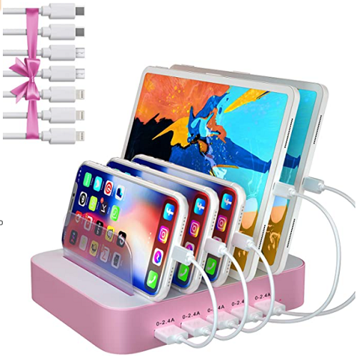 USB Charing Station Dock, 5 Port Charging Station with 7 Short Mixed Cables 50% OFF