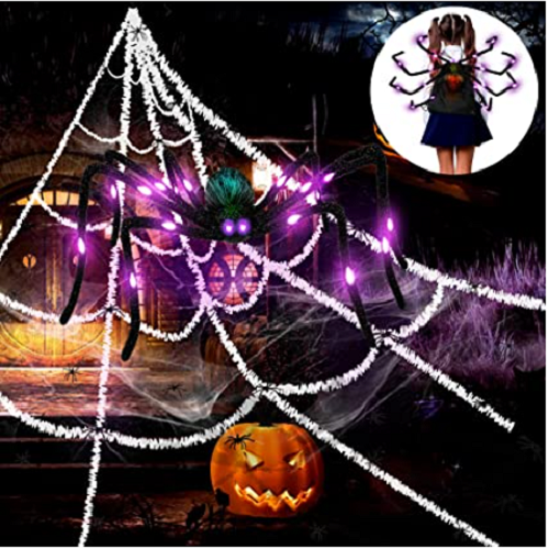 Giant Spider Web Halloween Decorations with Large light up Spider 50% OFF