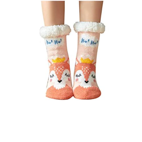 Women Christmas Socks Sherpa Fleece Lined Knit Thick Fuzzy Winter Warm Slipper Socks Gifts for Families Friends 70% off