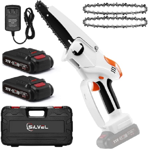 Mini Cordless Chainsaw Kit,SILVEL Upgraded 6-Inch 21V Rechargeable Electric Pruning Saw with 2 Batteries 2 Chain