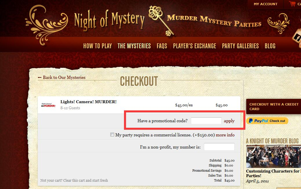 May 2018 night of mystery promo codes coupons hotdeals night of mystery promo code fandeluxe Choice Image